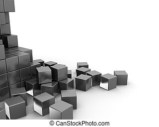 cubes - abstract 3d illustration of metal cubes background