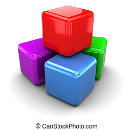 colorrful cubes - 3d illustration of plastic colorful cubes,...
