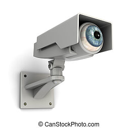 big brother - abstract 3d illustration of security camera...