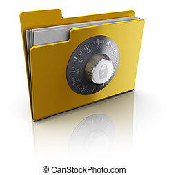 secret folder - 3d illustration of folder with documents...