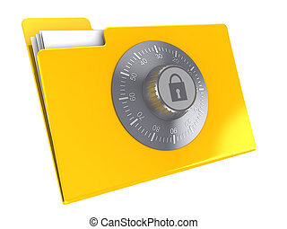 locked folder - 3d illustration of yellow folder icon...