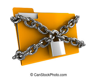 locked folder - 3d illustration of documetns folder locked...