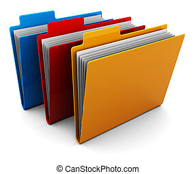 folders - 3d illustration of three colorful folders over...