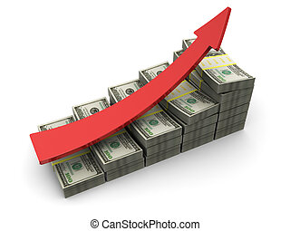 money rising charts - 3d illustration of dollars rising...