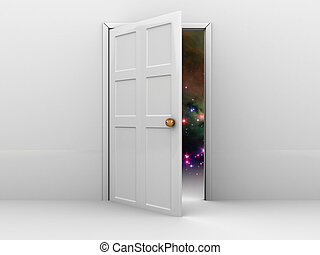 door to space - 3d illustration of opened door with space...