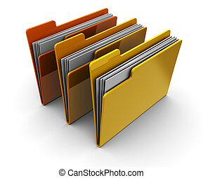folders - 3d illustration of three folders over white...