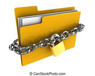 locked folder - 3d illustration of locked folder isolated...