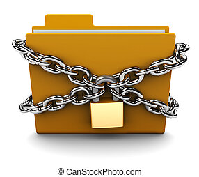 locked folder - 3d illustration of folder locked with chains