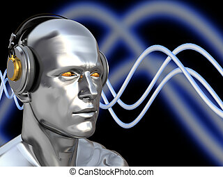 deejay - abstract 3d illustration of deejay head over blue...