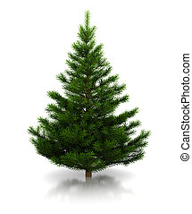 christmas tree - 3d illustration of undecorated christmas...