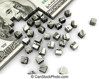 dollar puzzle - 3d illustration of dollar banknote built...
