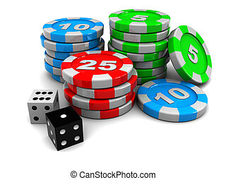 casino chips - 3d illustration of casino chips and two...