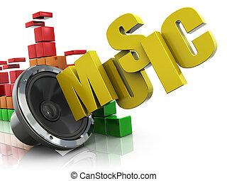 music background - 3d illustration of audio speaker and...