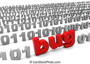bug in binary code - 3d illustration of text 'bug' in binary...