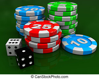 casino chips and dices - 3d illustration of casino chip rows...