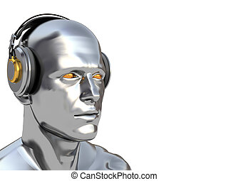 deejay - abstract 3d illustration of man head with...