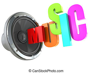 music symbol - 3d illustration of text ;music' with audio...