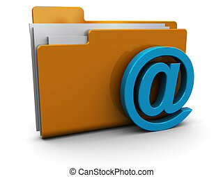 mail folder - 3d illustration of mail folder icon or symbol,...