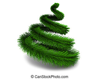 xmas tree - abstract 3d illustration of stylized christmas...