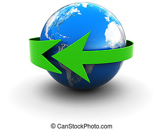 earth with green arrow - abstract 3d illustration of earth...