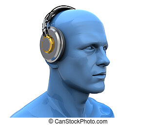 deejay - abstract 3d illustration of man head in headphones