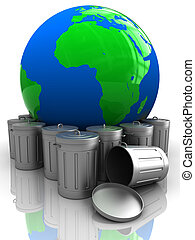 earth with garbage - abstract 3d illustration of earth globe...