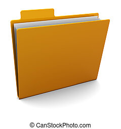 3d folder - 3d illustration of yellow folder with paper