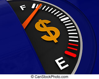full of fuel - 3d illustration of fuel meter with dollar...