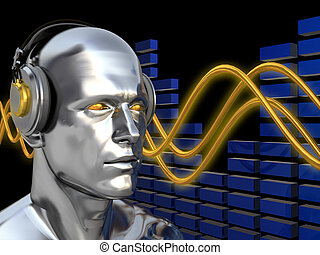 deejay - abstract 3d illustration of deejay over sound waves...