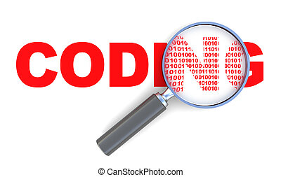 coding - 3d illustration of coding sign with magnify glass