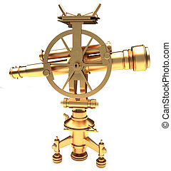 Gold vintage theodolite on a white background