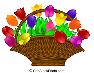 Basket of Colorful Tulips Flowers Illustration