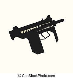 Sub-machine gun silhouette - Black silhouette of sub-machine...