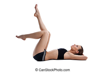 Beauty young woman lay on white in fitness dress