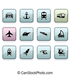 Transport dim icons - Transport set of square dim icons