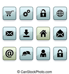 web dim icons - web set of square dim icons