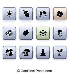 Seasons dim icons. - Seasons set of square dim icons.