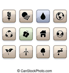 Ecology dim icons - Ecology set of square dim icons