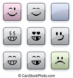 Smiley dim icons - Smiley set of square dim icons