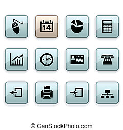 Office dim icons - Office set of square dim icons