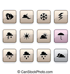 Weather dim icons - Weather set of square dim icons
