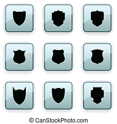 Shield dim icons - Shield set of square dim icons