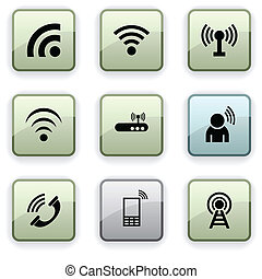 Communication dim icons - Communication set of square dim...