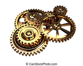gears - 3d illustration of golden gears mechanism isolated...