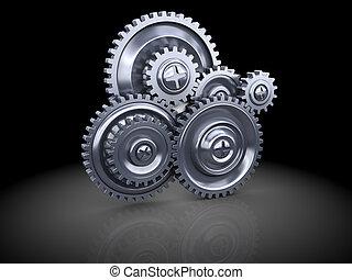 gear wheels - 3d illustration of steel gear wheels system...