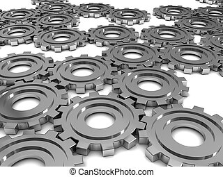 gear wheels background - abstract 3d illustration of steel...