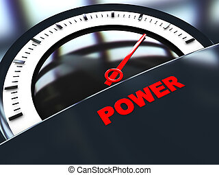 power meter - abstract 3d illustration of power scale with...
