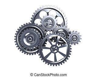 gears - 3d illustration of gear wheels isolated over white...