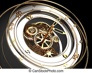 clock mechanism - abstract 3d illustration of clock...