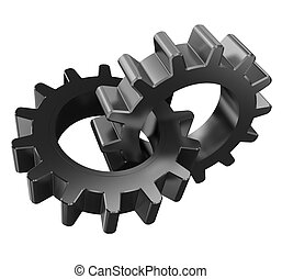 gear wheels - 3d illustration of two gear wheels isolated...